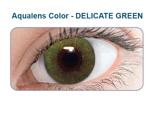 Aqualens delicate green color contact lens (1 lens/box/Plano)  available at Lenskart for Rs.0
