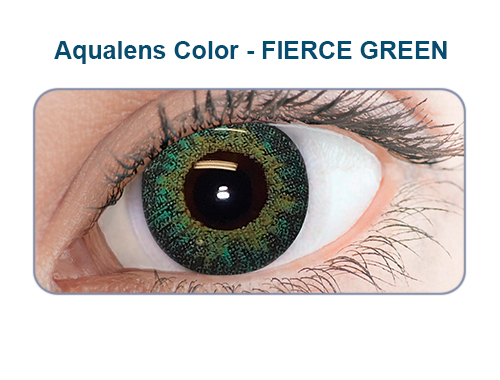 Aqualens fierce green color contact lens (1 lens/box/Plano)  available at Lenskart for Rs.0