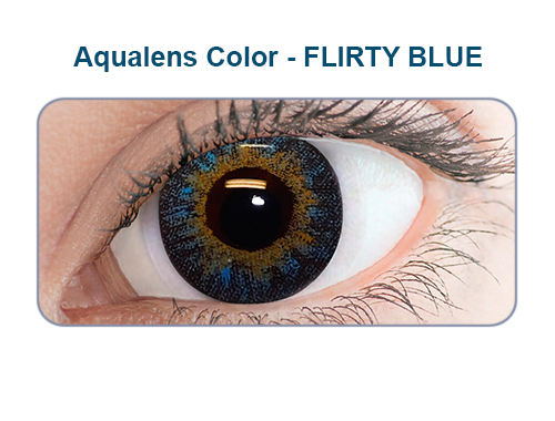 Aqualens flirty blue color contact lens (1 lens/box/Plano)  available at Lenskart for Rs.0