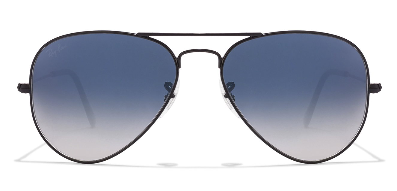 Ray-Ban RB3025 Size:55 Black Blue Gradient 00253F Aviator Sunglasses  available at Lenskart for Rs.0