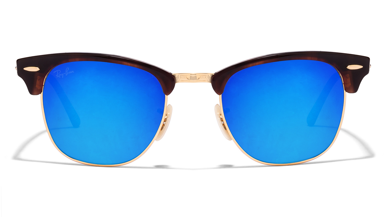 Ray-Ban RB3016 Size:51 Golden Tortoise Blue Mirror 990/7Q Clubmaster Sunglasses  available at Lenskart for Rs.0