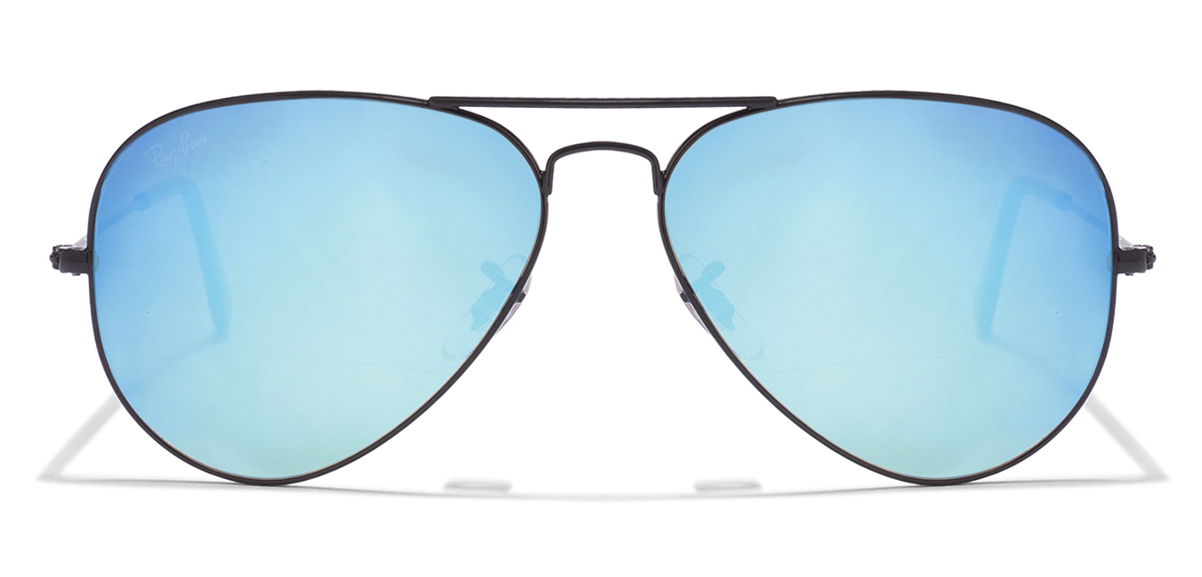 Ray-Ban RB3025 Size:58 Black Sky Blue Mirror 002/40 Aviator Sunglasses  available at Lenskart for Rs.0