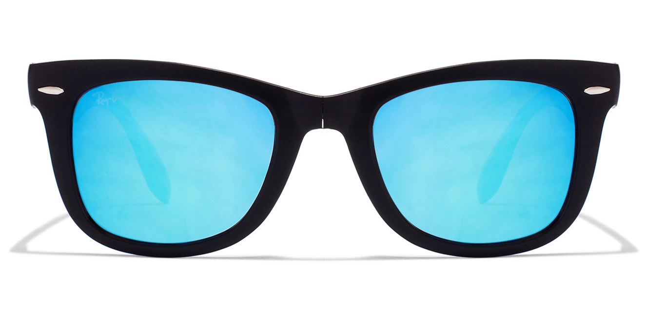 Ray-Ban RB4105 Size:50 Matte Black Blue Mirror 6069/4O Wayfarer  Sunglasses  available at Lenskart for Rs.0