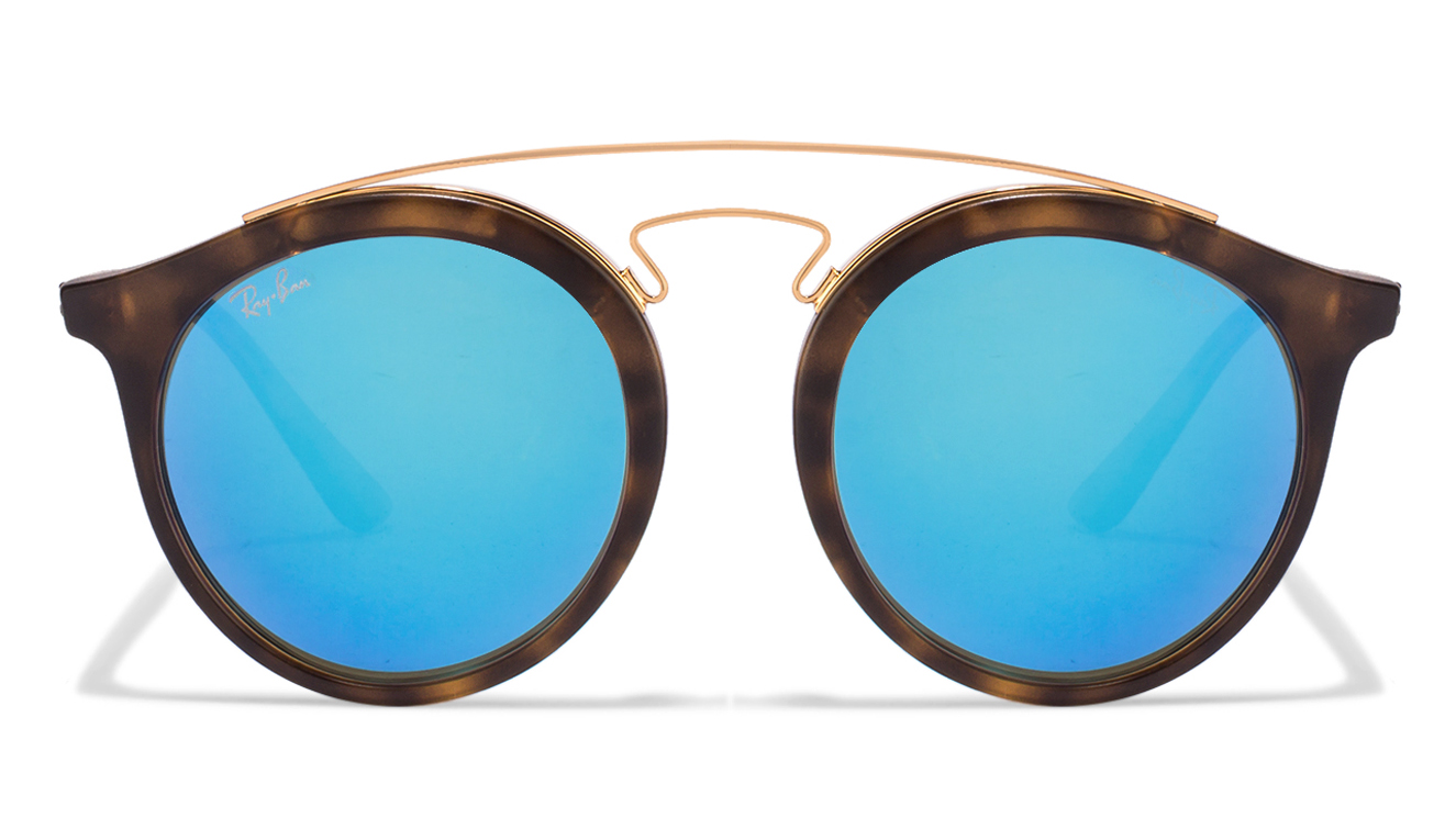 Ray-Ban RB4256 Size:49 Golden Tortoise Sky Blue Mirror 6092/55 Women's Sunglasses  available at Lenskart for Rs.0