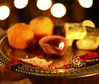 stock-footage-locked-on-shot-of-a-spinning-puja-thali-with-rakhi-sweets-and-oil-lamp